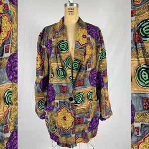 90's Iconic Barocco Floral Rayon Oversized Blazer